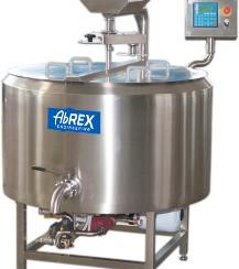 ABREX kádpasztőr, sajtkád, motoros sajthárfával és keverővel, automata vezérléssel