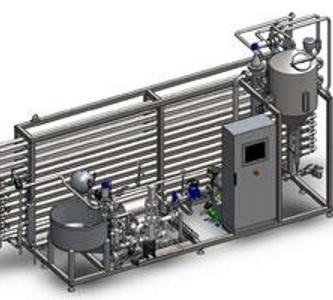 ABREX - Átfolyó rendszerű pasztőr, cső-a-csőben hőcserélővel